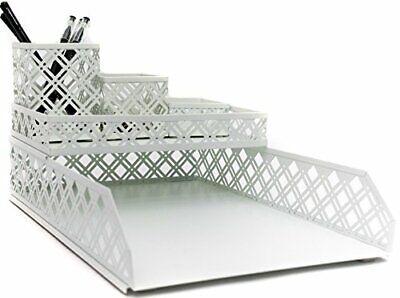 Blu Monaco 5 Piece White Interlocking Desk Organizer Set