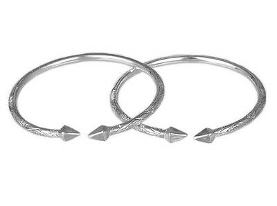 Pyramid .925 Sterling Silver West Indian Bangles (Pair)