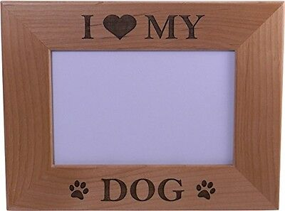 I Love My Dog 4x6 Inch Wood Picture Frame - Great Gift for a dog lover ()