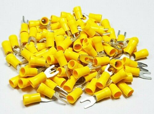 300+YELLOW+4.3mm+INSULATED+FORK+CONNECTOR+ELECTRICAL+CRIMP+TERMINAL+%C2%A33.33%2F100