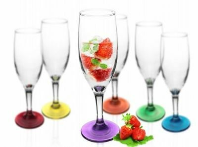 6 Sektgläser mit farbigem Fuß 200ml Sektkelche Champagner Prosecco Proseccoglas