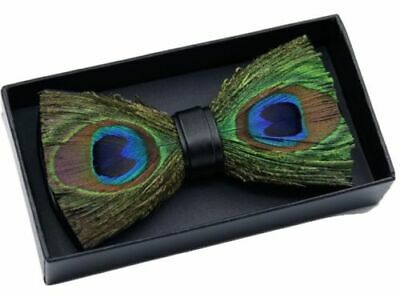 MENS BOYS PRE-TIED FEATHER BOW TIE CLIP PEACOCK Gift Box