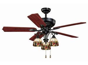 52 Tiffany Style 3 Light Ceiling Fan New Gl Globe Fixture Oil Shale Mission