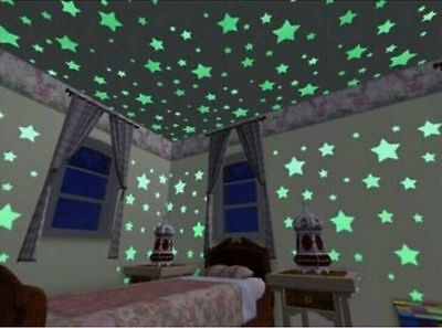 100Pcs Wall Stickers Home Decor Glow In The Dark Star sticker For Kids room New - Glow In The Dark Decorations For Room
