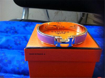 Authenti Hermes Light Purple-Gold Narrow Bracelet