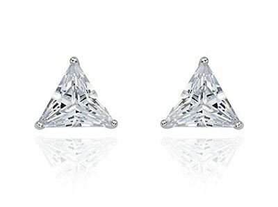 1 Ct Diamond Stud Earrings Triangle Cut Solitaire Stud Earrings 14K White -