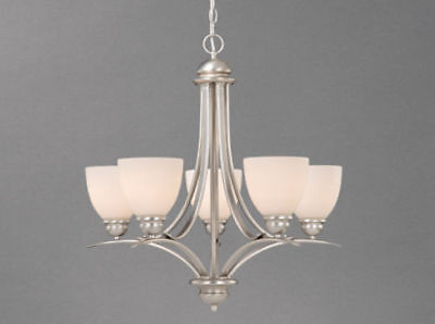New 5 light Brushed Nickel chandelier with frosted opal glass