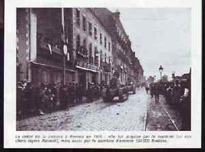 1973 -- RENNES DEFILE DE LA VICTOIRE EN 1918 E841 - France - 1973 -- RENNES DEFILE DE LA VICTOIRE EN 1918 il ne s'agit pas d'une carte postale , mais d'un beau document paru dans la rare la bretagne au 20me sicle EN 1973 le document GARANTI D'EPOQUE est en tres bon état et présenté sur carton d'encadrem - France