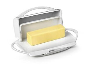 Butterie Flip Top Butter Dish For Countertop or Refrigerator, BPA Free, White