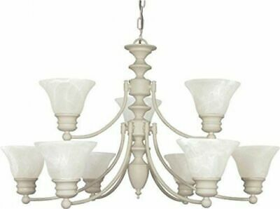 Nuvo 60-363 - 2-Tier 9-Lights Textured White Chandelier with Alabaster Glass Brass Alabaster White Glass