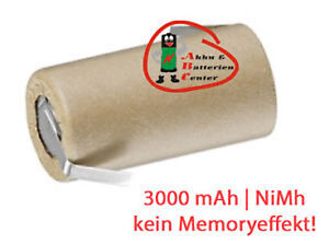 Akku Einzelzelle Sub-C 3000 mAh 1,2V NiMh im Pappmantel mit Lötfahne Wekzeugakku