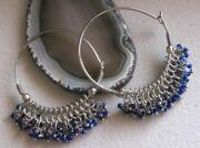 Beaded Hoop Earrings Silver
