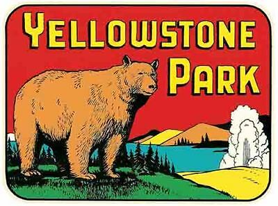 Yellowstone National Park    Vintage Style 1950S  Travel Decal Bumper Sticker