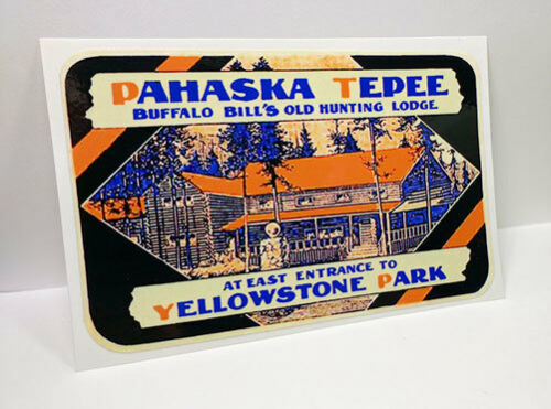 YELLOWSTONE PARK, PAHASKA TEPEE Vintage Style Travel Decal, Vinyl STICKER, Label