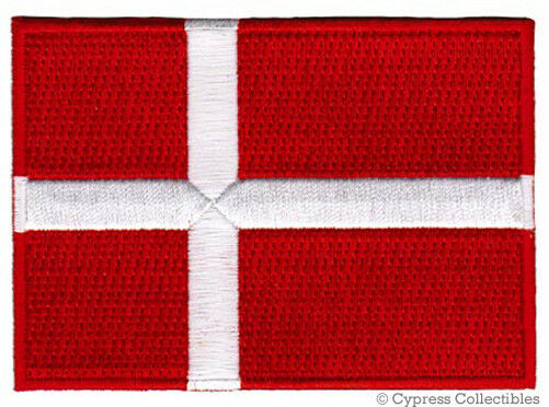DENMARK FLAG embroidered iron-on PATCH DANISH EMBLEM souvenir applique Danmark
