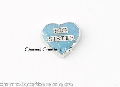 (Big Sister Blue Glitter Heart Floating Charm For Memory Glass Locket)