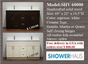 Bathroom Vanities, Handcrafted Vanities, many sizes from 189.00