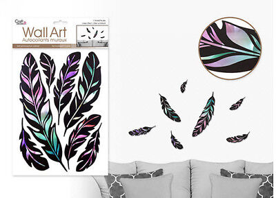 Laser Effect  FEATHERS wall stickers 7 decals black bird plumes
