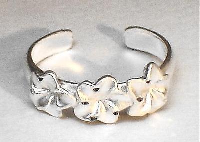 6mm Hawaiian Solid 925 Sterling Silver Diamond Cut 3 Plumeria Flowers Toe Ring