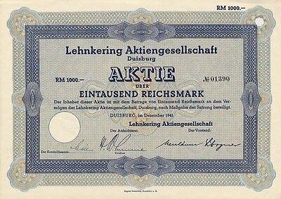 LEHNKERING AG Duisburg histor. Aktie 1941 Schifffahrt Spedition Logistik Lager