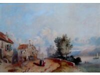 VINTAGE FRENCH SCHOOL WATERCOLOUR WALKING BY A LAKE PREVIOUSLY SOLD BY CHRISTIES