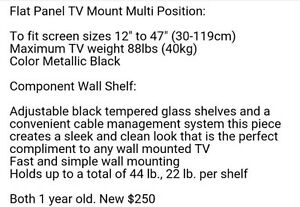 Tv wall mount with glass shelves