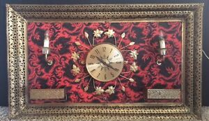 Vintage Framed Brass Wall Hanging Light and clock