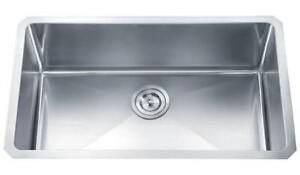 Single Bowl - Hand Crafted - Small Radius Stainless Steel Sink  FREE BASKET AND GRID