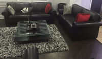 3 Piece Genuine Leather Black Sofa Couch Like New w/ Table