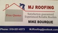 MJ ROOFING Experienced reliable roofers 519-551-6373 FREE QUOTE
