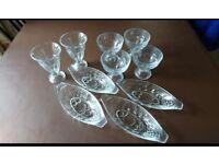Set of glass sundae dishes