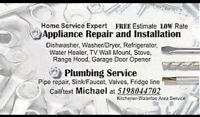 Appliance repair and install. FREE estimate and NO service call