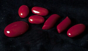 VERY RARE Genuine Mediterranean Ox-Blood coral cabs - $795