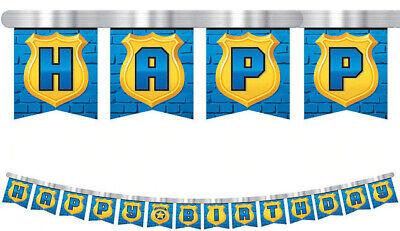 POLICE themed Happy Birthday party jumbo letter jointed BANNER badge/shield
