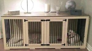 CUSTOM SOLID WOOD DOG CAGE/TABLE