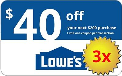 Three  3X  Lowes  40 Off  200 Lowes Coupons  In Store Online Delivery In 1 Min