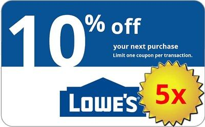 Five  5X  Lowes 10  Off Lowes Coupons  In Store Online Delivery In 1 Min