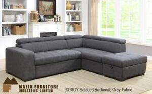 Grey Sectional with pullout Sofa Bed (BD-1675)