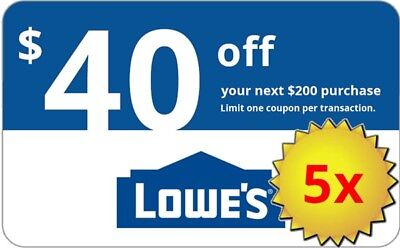 Five  5X  Lowes  40 Off  200 Lowes Coupons  In Store Online  Delivery In 1 Min