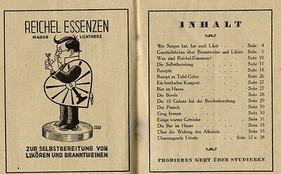 Berlin Otto Reichel Essenzen Fabrik für Branntwein Punsch Liköre Rezeptbuch 1924