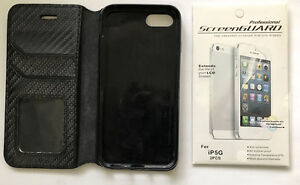 LEATHER WALLET CASE+SCREEN PROTECTOR for IPHONE 5