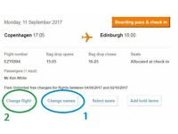 EasyJet Flight: Copenhagen to Edinburgh Mon 11th Sept (FLEXIBLE DATE) NEGOTIABLE PRICE