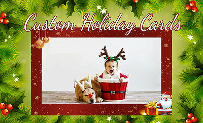 100 CUSTOM PRINT 5x7 Holiday Family Picture Cards, Personalized with your image ()