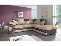 LEFT OR RIGHT HAND SIDES - NEW Dino jumbo cord 3+2 or corner sofa - BLACK GREY OR BROWN BEIGE
