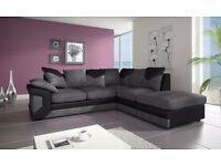 BUY WITH CONFIDENCE -BRAND NEW DINO JUMBO CORD CORNER OR 3 AND 2 SEATER SOFA--BLACK/GREY OR BROWN--