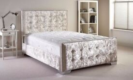 UPHOLSTERED DESIGNER BRAND NEW CHESTERFIELD CRUSHED VELVET BED FRAME SILVER, BLACK AND CREAM COLORS