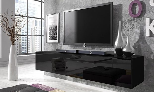160cm Black Floating Tv Stand Cabinet High Gloss Front