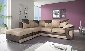 NEW LOOK FABRIC AND LEATHER CORNER SOFA OR 3 AND 2 SEATER SOFA BLACK AND GREY OR BROWN AND BEIGE