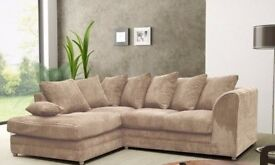 BEST SELLING BRAND! NEW DYLAN JUMBO CORD CORNER OR 3 AND 2 SOFA IN BLACK BEIGE & BROWN