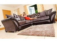 GREY BLACK OR BROWN BEIGE -- BRAND NEW SHANNON CORNER or 3 + 2 SOFA IN LEATHER & CHENILLE FABRIC